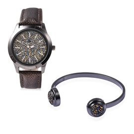 2 Piece Set - STRADA Japanese Movement Water Resistant Simulated Gold and Blue Crystal Watch and Cuf