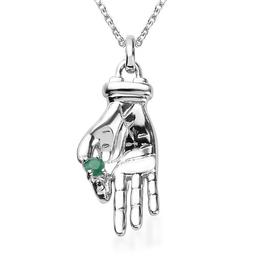 Sundays Child -  Kagem Zambian Emerald Hand Holding Necklace (Size 18) in Platinum Overlay Sterling