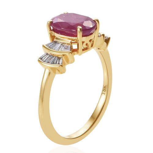 ILIANA 18K Yellow Gold AAA Burmese Ruby (Ovl), Diamond (SI/G-H) Ring 2.180 Ct.