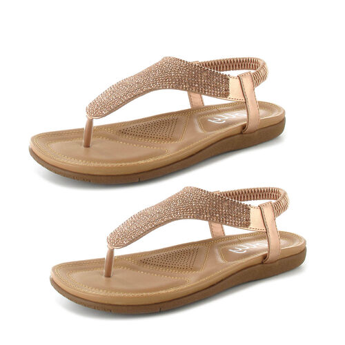 OLLY Samba Toe Post Comfort Sandal (Size 5) - Rose Gold