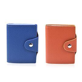 Set of 2 -  Leather Credit Card Holder (Size 10x8 Cm) - Blue and Orange