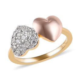J Francis - Platinum, Yellow and Rose Gold Overlay Sterling Silver (Rnd) Double Heart Ring Made with