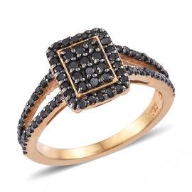 Black Diamond (Rnd) Ring in 14K Gold Overlay Sterling Silver 0.495  Ct.