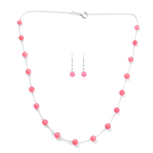2 Piece Set - Pink Jade Station Necklace (Size 18) and Hook Earrings in Sterling Silver 27.75 Ct.