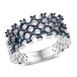 0.33 Carat Blue diamond Lattice Cluster Ring in Platinum Plated Sterling Silver 4 Grams