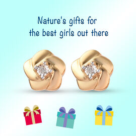 Children Diamond Floral Earrings in Gold Plated Silver