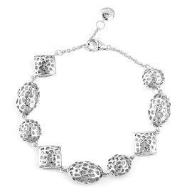 RACHEL GALLEY 8 Inch Rhodium Plated Sterling Silver Lattice Bracelet 13.40 Grams