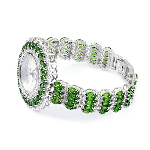 EON 1962 - Sterling Silver Russian Diopside (23.0 CT) Swiss Movement Watch, Silver wt 40 Gms.