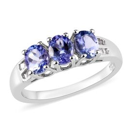Tanzanite (Ovl), Diamond Ring in Platinum Overlay Sterling Silver 1.05 Ct.