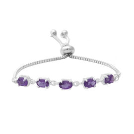 Amethyst (Ovl) Bolo Bracelet (Size 6.5-8) in Sterling Silver and Steel 2.000 Ct.