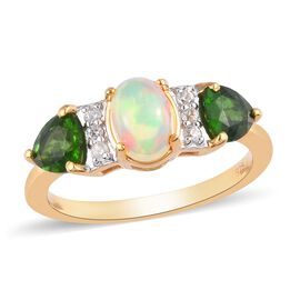 Ethiopian Welo Opal, Russian Diopside and Natural Cambodian Zircon Ring in 14K Gold Overlay Sterling