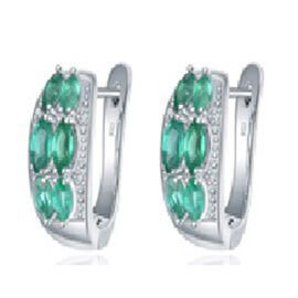 1.42 Ct AAA Kagem Zambian Emerald and Diamond J Hoop Earrings in Rhodium Plated Sterling Silver