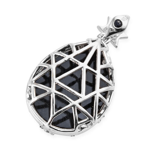 GP Boi Ploi Black Spinel (Pear 24.00 Ct), Natural Cambodian Zircon and Kanchanaburi Blue Sapphire Pendant in Platinum Overlay Sterling Silver 24.500 Ct.