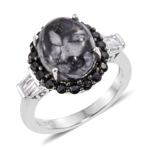 Austrian Pinolith (Ovl 4.65 Ct), Boi Ploi Black Spinel and White Topaz Ring in Platinum Overlay Ster