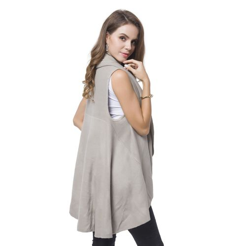 Grey Colour Fold Over Collar Cape (Free Size)