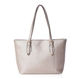 Litchi Pattern Tote Bag with Zipper Closure (Size 40x30 mm) - Champagne