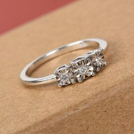 Diamond Trilogy Ring in Platinum Over Sterling Silver