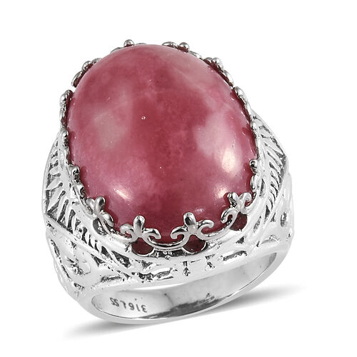 Zaire Rhodonite (Ovl 22x16 mm) Ring in Ion Plating Stainless Steel 24.000 Ct