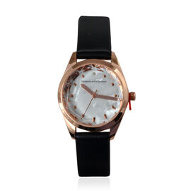 DIAMOND & CO LONDON- Diamond Studded Watch with Leather Strap - White Mother of Pearl