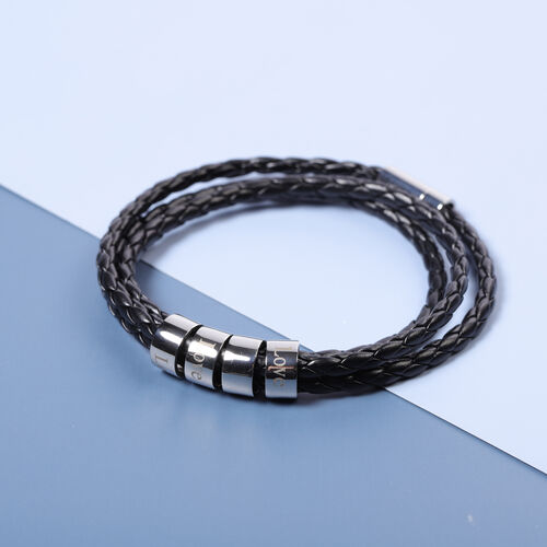 Personalise Engravable 4 Rings Leather Bracelet