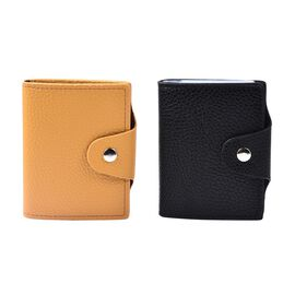Set of 2 - Leather Credit Card Holder (Size 10x8 Cm) - Yellow and Black