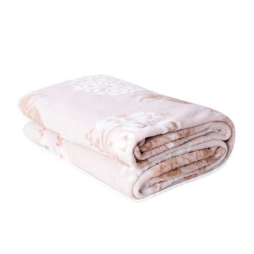 High Quality Hotel Luxury Plush Microfibre Rose Embossed 3D Effect-Finish Blanket (Size 200x150 Cm)