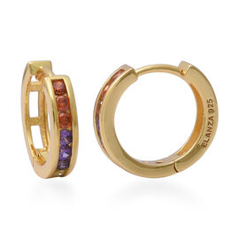 ELANZA Simulated Rainbow Sapphire Hoop Earrings in Yellow Gold Overlay Sterling Silver 1.65 Ct.