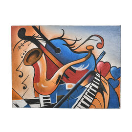 Balinese - Musical Theme Canvas Handpainting (Size 80x60 Cm)