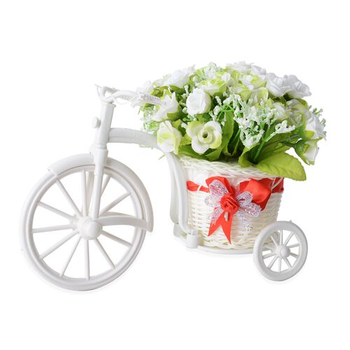 Home Decor - Nostalgic Bicycle with Artificial Flower Decor Plant Stand (Size 26x13x18 cm) - Colour White and Green