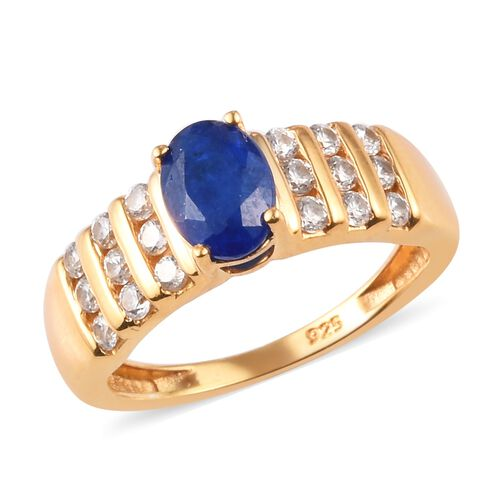 Tanzanian Blue Spinel and Cambodian Zircon Ring in 14K Gold Overlay Sterling Silver Ring 1.50 Ct.