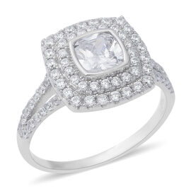 ELANZA Simulated Diamond (Sqr and Rnd) Ring in Rhodium Overlay Sterling Silver