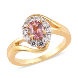 AA Pink Tourmaline and Natural Cambodian Zircon Ring in 14K Yellow Gold Overlay Sterling Silver 0.80