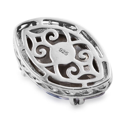 J Francis - Crystal From Swarovski Bermuda Blue Crystal Pendant in Platinum Overlay Sterling Silver