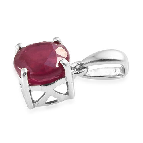9K White Gold AAA African Ruby (Rnd) Pendant 1.250 Ct.