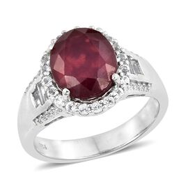 7.50 Ct African Ruby and Topaz Halo Ring in Platinum Plated Silver 5.80 Grams