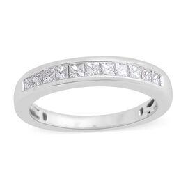 RHAPSODY 950 Platinum IGI Certified Diamond (Sqr) Half Eternity Band Ring 0.500 Ct.