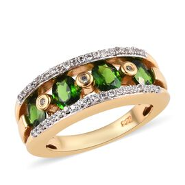 2 Ct Russian Diopside and Zircon Band Ring in 14K Gold Plated Sterling Silver 5 Grams