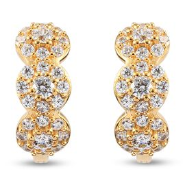 J Francis 14K Gold Overlay Sterling Silver Cluster Earrings (with Clasp) Made with SWAROVSKI ZIRCONI