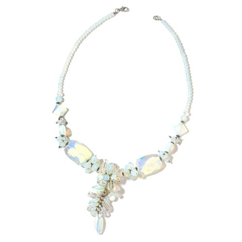 Opalite, White Austrian Crystal Quartz, Simulated Diamond, Simulated White Pearl, Simulated Grey Moonstone and Multi Colour Beads Necklace (Size 29 with 2.50 inch Extender) in Silver Plated