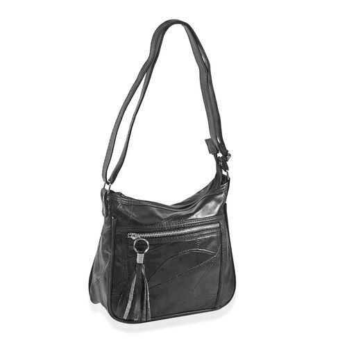 (Option 2) Close out Deal Dark Chocolate Leather Patchwork Shoulder / Cross body Bag (Size 25x21x8cm)