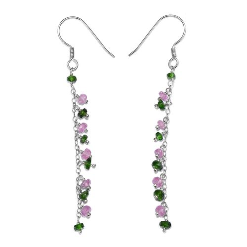 Mega Deal-Pink Sapphire (Rnd), Russian Diopside Beads Hook Earrings in Platinum Overlay Sterling Silver 4.410 Ct.