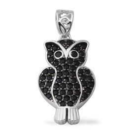 Boi Ploi Black Spinel (Rnd) Owl Pendant in Rhodium Overlay Sterling Silver 1.63 Ct.