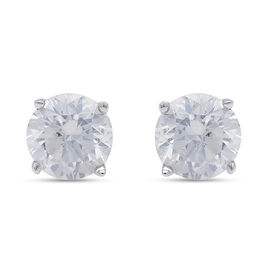 14K White Gold SGL Certified Diamond (I1-I2/G-H) Earrings (with Screw Back) 1.000 Ct.