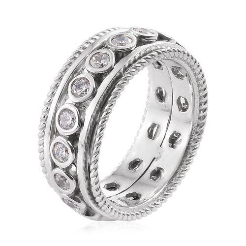 J Francis - Platinum Overlay Sterling Silver (Rnd) SPINNER Ring Made with SWAROVSKI ZIRCONIA.Silver Wt 10.05 Gms