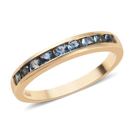 ILIANA 18K Yellow Gold AAA Santa Maria Aquamarine (Rnd) Half Eternity Band Ring 0.66 Ct.
