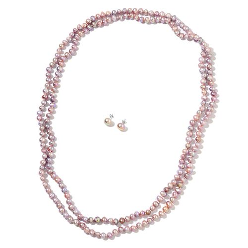Fresh Water Purple Pearl Necklace (Size 64) and Stud Earrings (with Push Back) in Rhodium Plated Sterling Silver 612.001 Ct.
