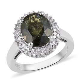 2.75 Ct Bohemian Moldavite and Diamond Halo Ring in Platinum Plated Silver