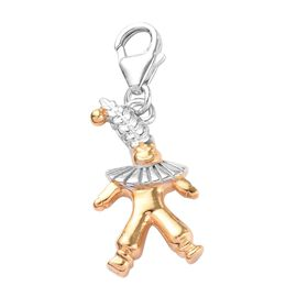 Platinum and Yellow Gold Overlay Sterling Silver Clown Charm