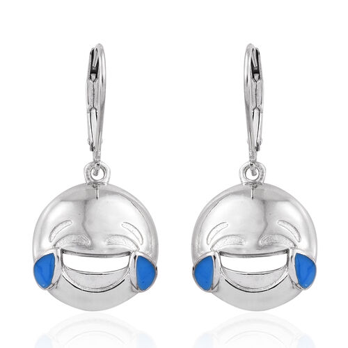 Face with Tears of Joy Smiley Silver Lever Back Earrings in  Platinum Overlay