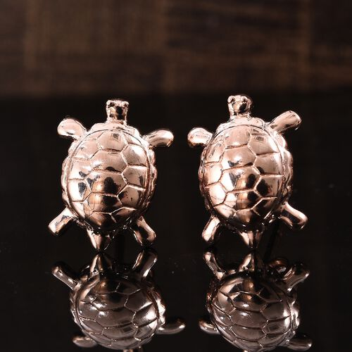 Rose Gold Overlay Sterling Silver Turtle Stud Earrings (with Push Back)